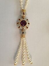 Swarovski Faux Pearl & Amethyst Crystal Necklace & Earrings Signed - GORGEOUS!