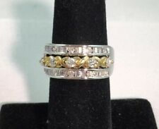 1.00 CTW Diamond (Round & Baguette) 10KT Two Tone Gold Ring Size 7 NEW / Tag