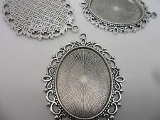 5 LARGE Oval Antique Silver Pendant Bezels,settings ,tray 40x30mm.Craft making