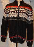 Men's Chaps Winter Lodge Black Long Sleeve Full Zip Cardigan Sweater Top S-2XL