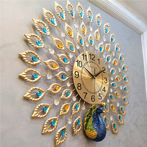"""Luxury Peacock Large Wall Clock 25"""" Metal Living Room Wall Watch Home Decor Gift"""