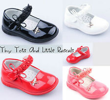 Girls Patent Ballerina Shoes Occasion Party Wedding Leather Insole Size UK 3 - 7