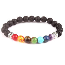 Men Women 7 Chakra Natural Gemstone Lava Rock Stone Prayer Beads Bangle Bracelet
