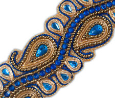 "2"" Wide Sapphire Blue Beaded Trim Paisley Gold Bullion With Sequins 1.5 Yards"