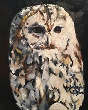 Norma Wilson Original Oil Owl  Bird Barnyard Painting Art