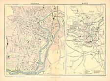 1892 VICTORIAN TOWN PLAN MAP ~ BRISTOL GUILDHALL THEATRE POST OFFICE & BATH