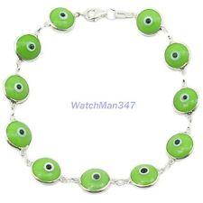 Womens Sterling silver Green evil eye bracelet mbmi7 mbmi7