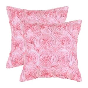 2Pcs Candy Pink Cushion Covers Pillows Shell Home Decor Stereo Roses Floral 45cm