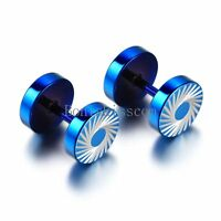 Men's Stainless Steel White Tornado Pattern Dumbbell Ear Blue Stud Earrings