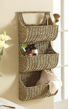 """Large, Sustainable Seagrass 3 Pocket Wall Basket with Woven Handle, 29"""" High"""