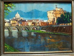 Vintage original oil on canvas painting signed A. Bonanno