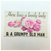 Welcome Lovely Lady Grumpy Old Man Live Sign Wall Plaque or Hanging Home Chic