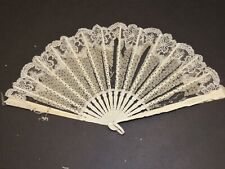Beautiful Victorian Carved Spangled Silk Hand Fan w Fine Lace Trim as is
