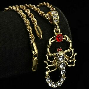 """RED RUBY SCORPION Pendant 14k Gold Plated 18"""" Rope Choker Chain Hip Hop Style"""