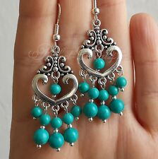925 Sterling Silver Hook Natural Turquoise Stone Chandelier Blue Green Earrings