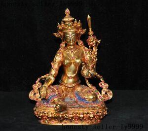 silver Filigree Gilt Inlay gem Tara Kwan-yin Guan Yin goddess Buddha statue