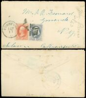 SEP 17 1883 CONNEAUT O. Cds on Cover to GOWANDA NY Lawyer, Scott #182 & #183!