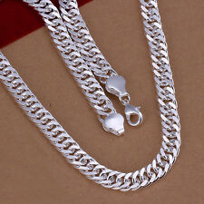 hot! wholesale Sterling solid silver fashion jewelry Chain 10mm Necklace XLSN039