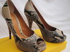 FENDI SHOES sandals platform wedge peep toe  36 6sabbia spuntata vitello