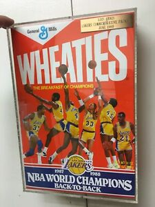 LOS ANGELES LAKERS 1987-1988 Back To Back Wheaties Box Enshrined