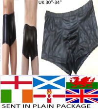 Mens Boxer Shorts Faux Leather PVC Wet Look Style Briefs Trunks Gay Posing Pouch