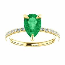 Pear Cut Natural Colombian Emerald & Diamond Accent Shank Engagement Ring 14K