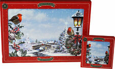 Set Of 4 Robin In Snow Christmas Dinner Place Mats And Coasters