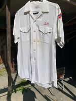 Vintage Mens Rayon Bowling Shirt Sterling Beer 1950's White Size M Medium