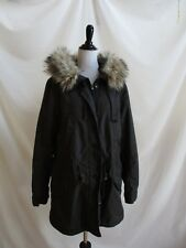 Gap Size L Faux Fur Trim Hooded Parka Removable Vest Liner Dark Grey