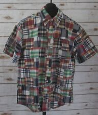 Brooks Brothers Mens Medium SS Madras Patchwork Cotton Camp Button Down Shirt M