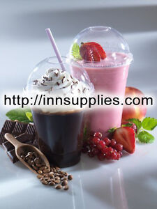 50 x 8+12oz Disposable Plastic Smoothie Cups - Domed Lids and Straws. Milkshakes