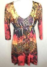 Ocean Breeze Floral Print Rhinestone Beaded 3/4 Sleeve Dress Size Small