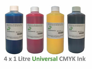 4 x 1 LITRE Cyan Magenta Black Yellow Universal Printer Dye Ink refill or CISS