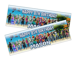2x Personalised Fortnite Birthday Banner Children/Kids Party decoration