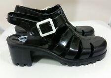 Ladies Black Jelly Gladiator Sandals 37 4 England Shoes Block Heels Summer Beach