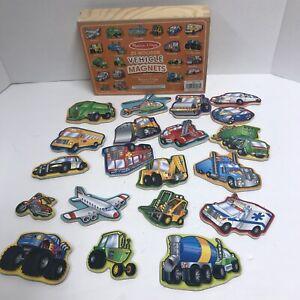 Melissa & Doug Vehicle Favorites Wooden Magnets 20 Pieces Ages 2+ complete w box