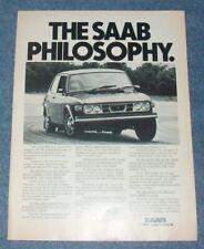 """1976 Saab 99 Vintage Ad """"The Saab Philosophy"""""""