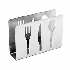 Stainless Steel Standing Napkin Holder with Cut-Out Silverware Fork Knife Spoon