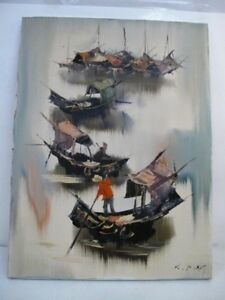 K.F. NG, KEE FUNG CALIFORNIA MODERN VINTAGE OIL EXPRESSIONIST ABSTRACT Painting