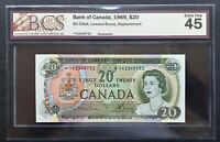 1969 Bank of Canada $20 Dollars Replacement Note *YA2349752 BCS EF-45 BC-50bA