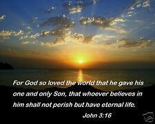 God so loved the World Bible Verse John 3:16 Inspirational Quote 8x10 Photo #js1