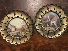 """Vintage Pair 6"""" Brass Butterfly Frames Pictures made in England"""