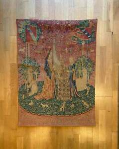 Vintage Cluny Lady And The Unicorn tapestry, Large French Vintage Wall Hanging,