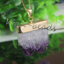 1x Gold Plated Natural Amethyst Cluster Druzy Crystals Reiki Pendant Necklace