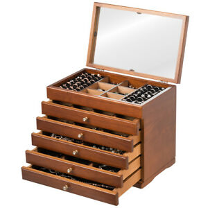 Wooden Jewellery Box Chest Rings Necklaces Storage Organiser Cabinet Mirrored