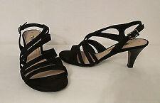 Tamaris Germany 1-28310-24-001 Black Suede Strappy Sandals Heel Shoes 38 EU 7 US