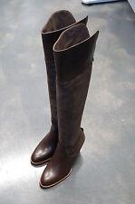 STIVALE DONNA -37-WOMAN BOOT- VITELLO+CAMOSCIO MARRONE-CALF+SUEDE BROWN-LTH SOLE