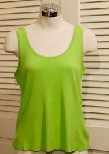 ST. JOHN SoCa Neon Lime Green Sleeveless Ribbed Shell Tank Medium