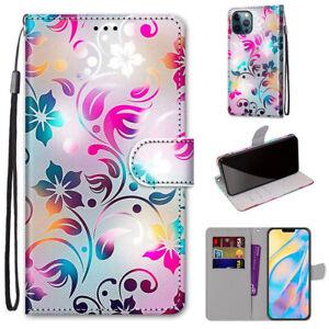 Gradient Colorful Flower Fashion Flip Wallet Case Back Cover For Various Phones