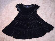 Gap Kids Gosford Park Girls Black Velour Stretch Tiered Twirl Dress Size 4-5 XS